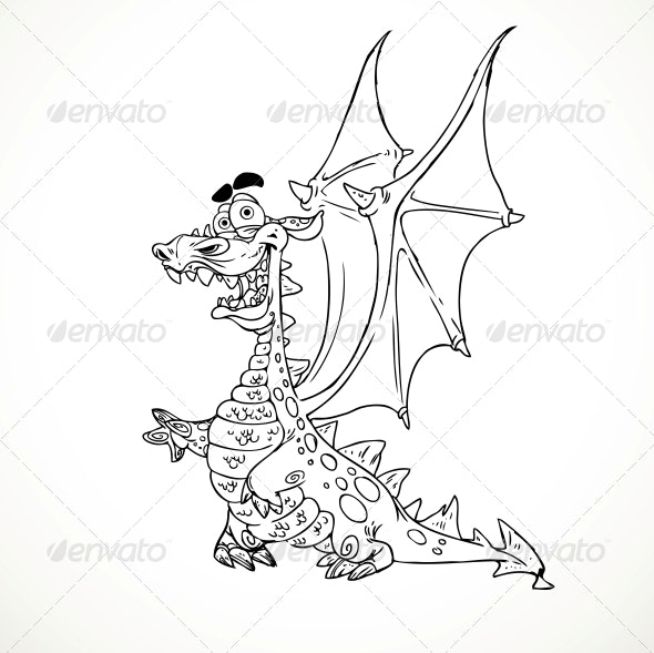 Fairytale Magical Dragon in Outlines for Coloring by azuzl