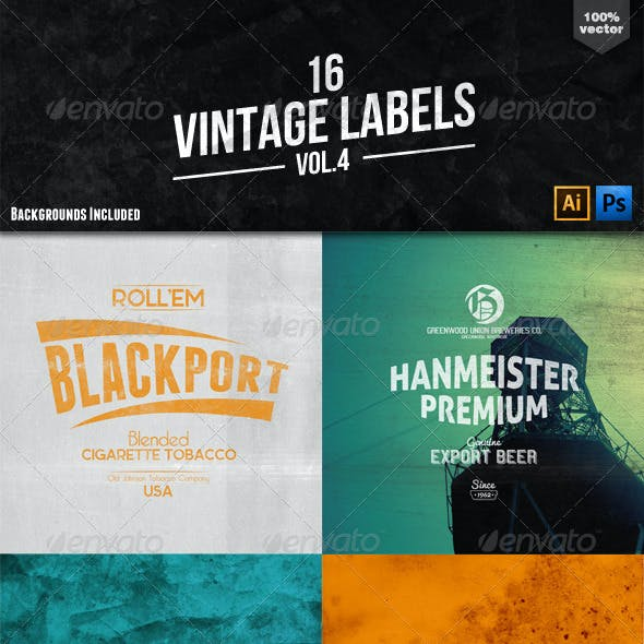 16 Vintage Labels and Badges Vol.4