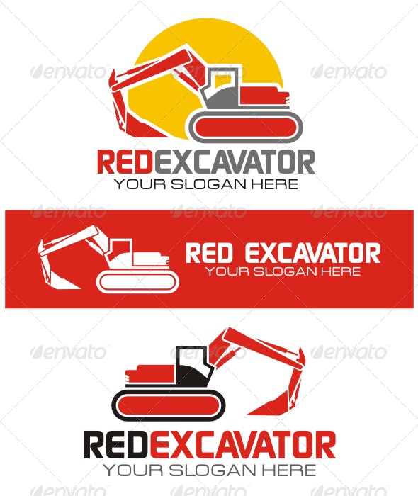 Red Excavator Logo - Objects Logo Templates