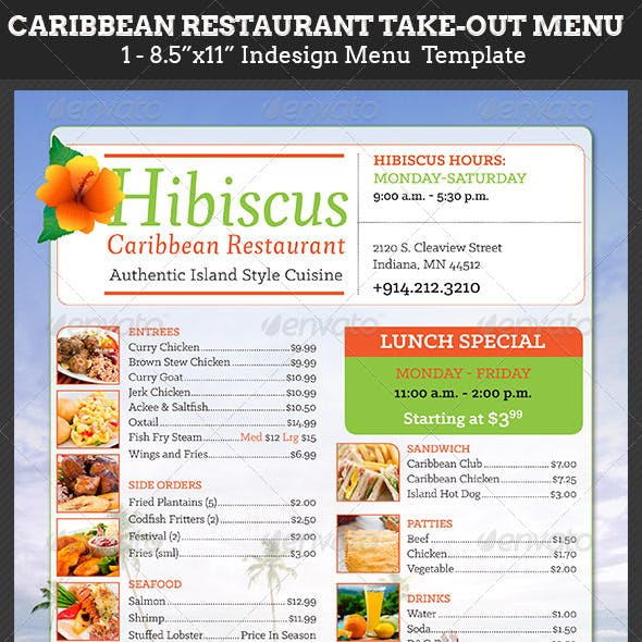 Caribbean Restaurant Take-Out Menu Template