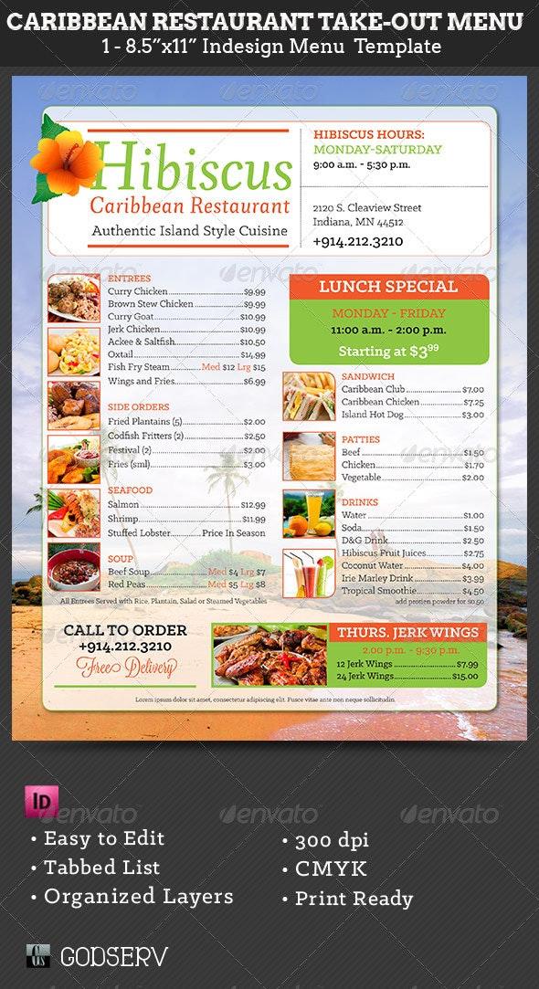 Caribbean Restaurant Take-Out Menu Template - Food Menus Print Templates