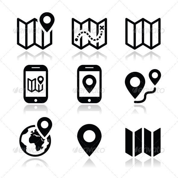 Map Travel Icons Set