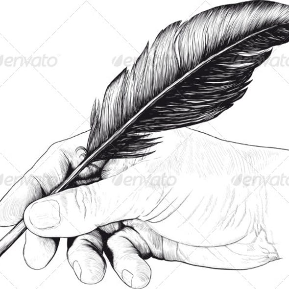 Vintage Drawing of Hand with a Feather Pen