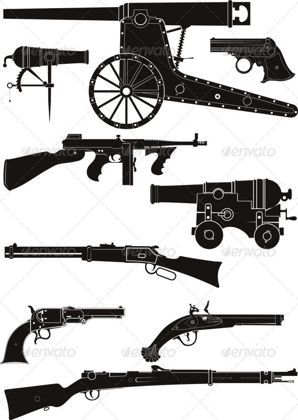 Classic Firearms of Different Historical Periods