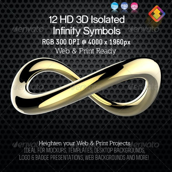 12 HD 3D Isolated Infinity Symbol