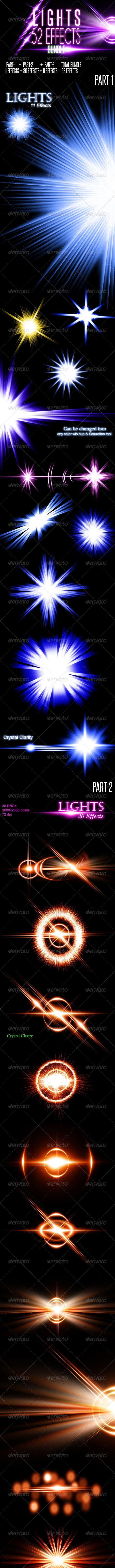 52 Lens Flares with Light Effects ( Bundle) - Flourishes / Swirls Decorative