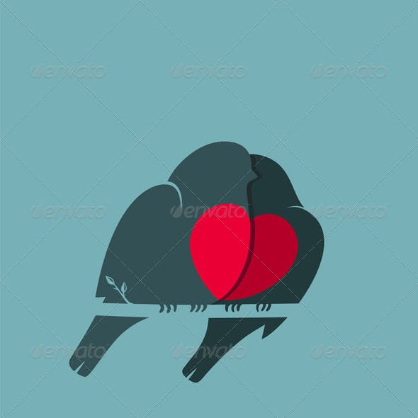 Bullfinch Birds Heart Love Couple Sitting on Twig