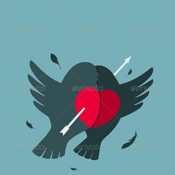 Bullfinch Birds Heart Love Couple with Arrow