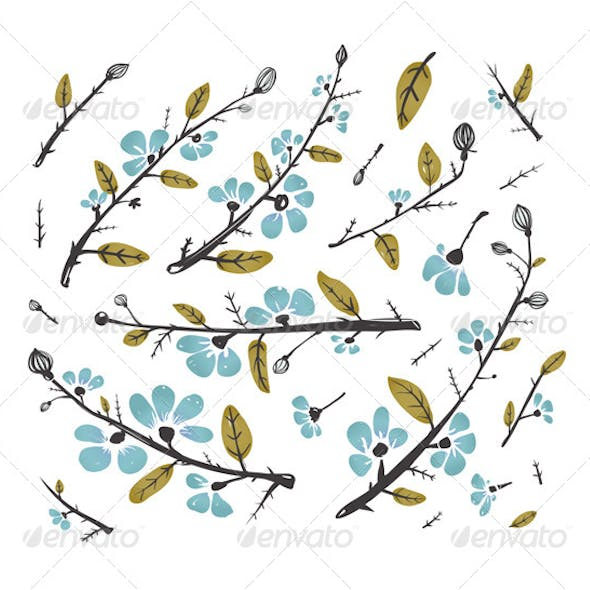 Flowers and Leaves Branches for Decoration Set