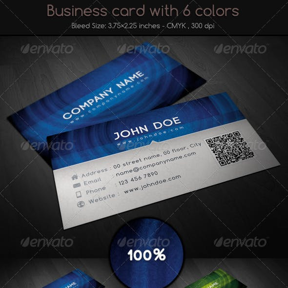 Business card with 6 colors