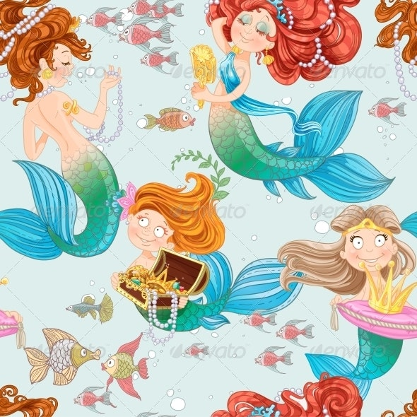 Seamless Pattern from Mermaid Girls with Treasures - Miscellaneous Characters