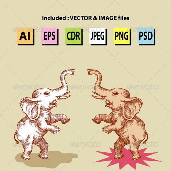 Standing Elephants Illustration