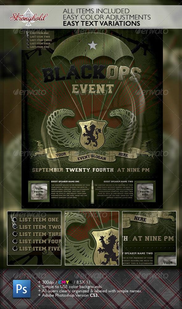 Vintage Black Ops Military Paratrooper Flyer  - Events Flyers