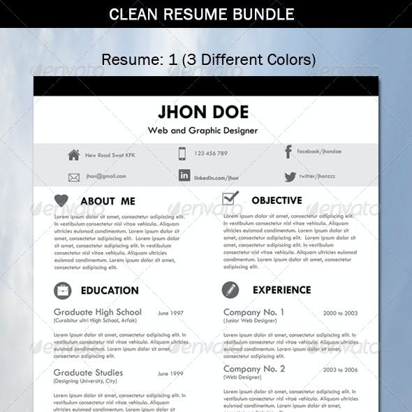3 Set-Clean Resume Bundle