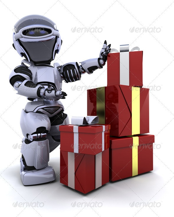 Robot with Christmas Presents - 3D Backgrounds