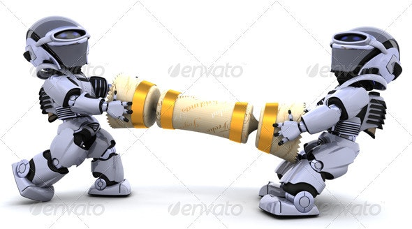 Robots Pulling a Christmas Cracker - 3D Backgrounds