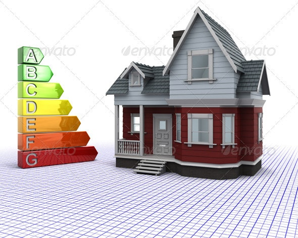 House with Energy Ratings - 3D Backgrounds