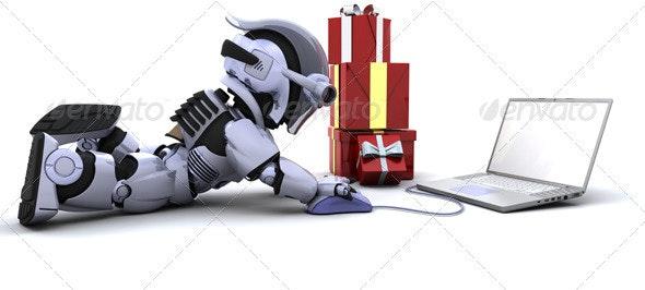 Robot Doing Online Christmas Shopping - 3D Backgrounds