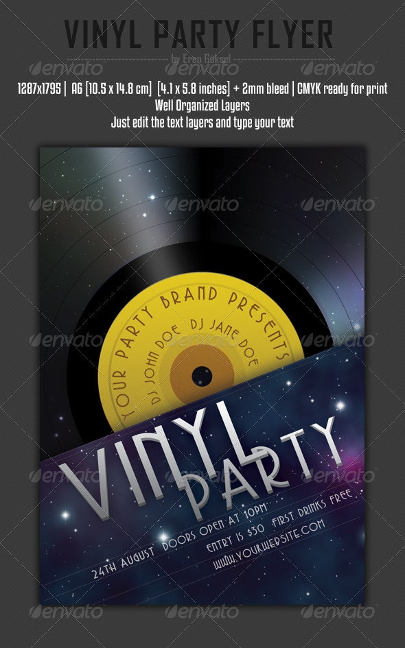 Vinyl Party Flyer - Clubs & Parties Events
