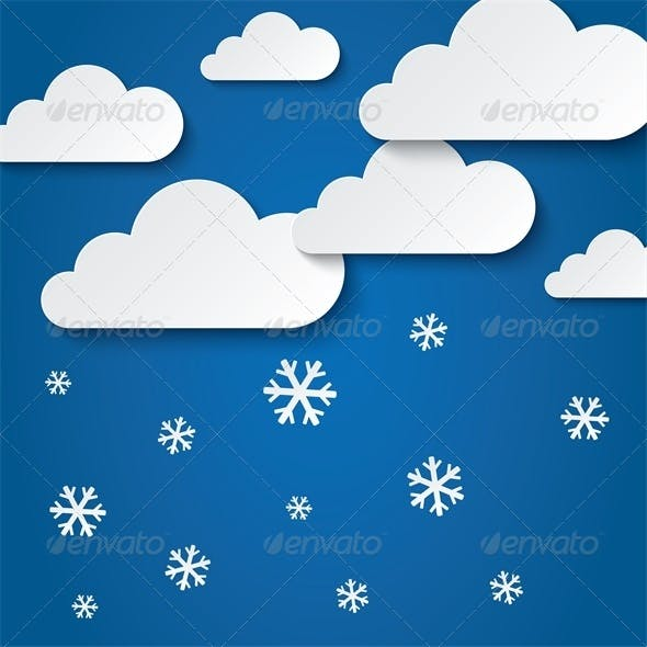 Paper Clouds with Snowflakes. Vector Paper Sky