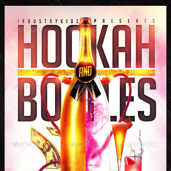 Hookah And Bottles Flyers Template