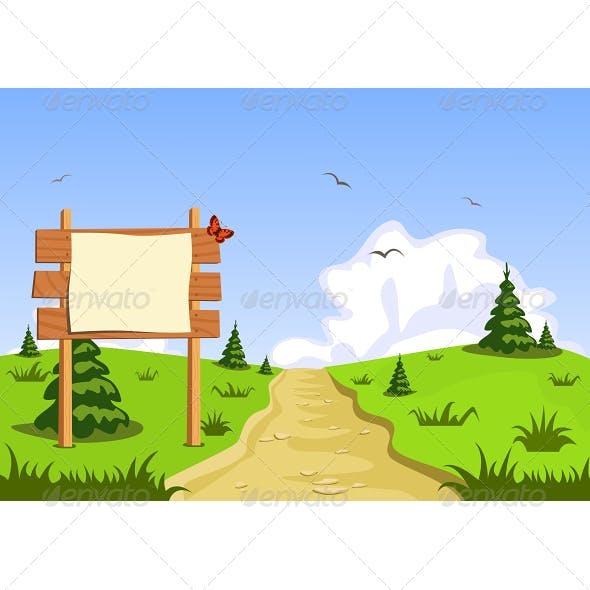 Landscape in Front of Blank Blackboard Navigation