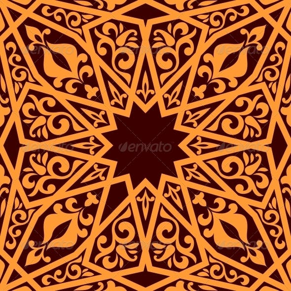 Arabic Seamless Pattern with Geometric Elements