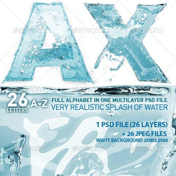 Water plash 3d Letters