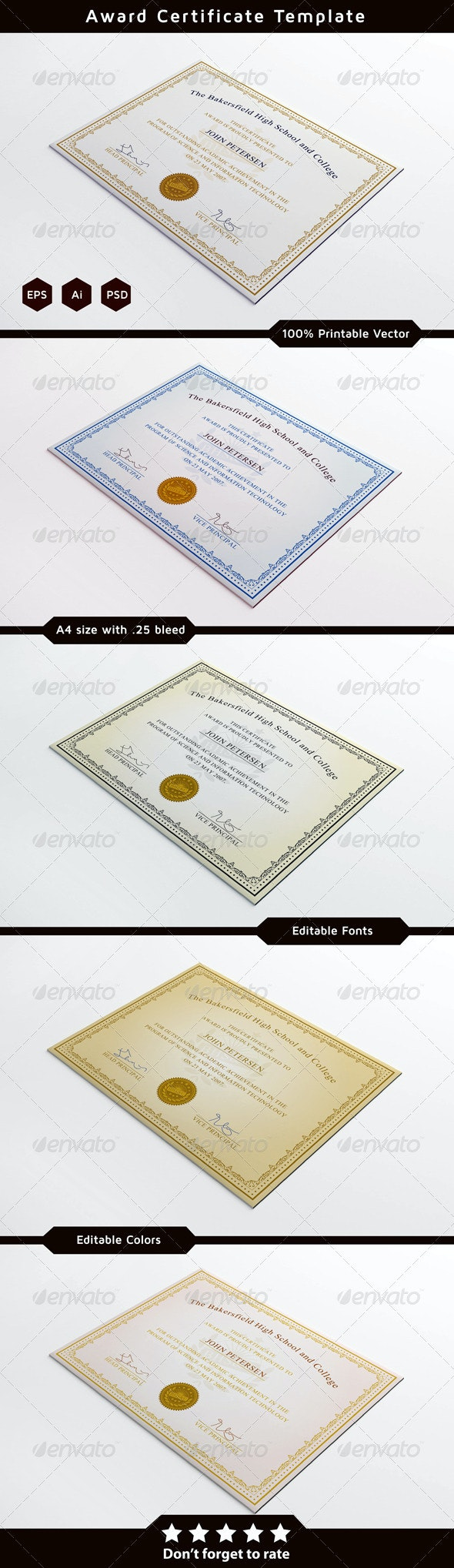 Achievement Certificate Template - Certificates Stationery