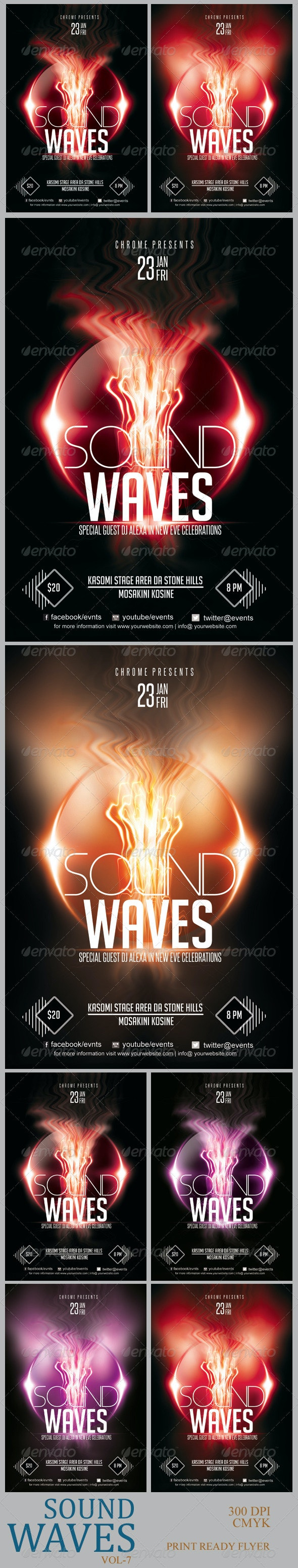 Sound Waves Flyer PSD 7 - Clubs & Parties Events