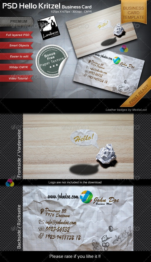 Kritzel Business Card Template - Creative Business Cards