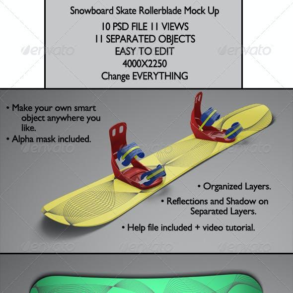 Snowboard Skate Rollerblade Mock Up