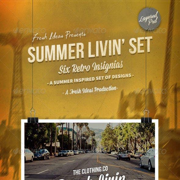 The Summer Livin' Set - 6 Retro Insignias