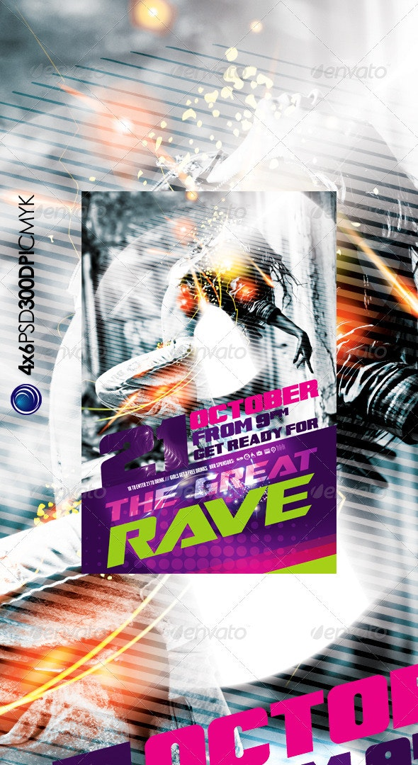 Modern Rave Music Party Flyer Template - Clubs & Parties Events