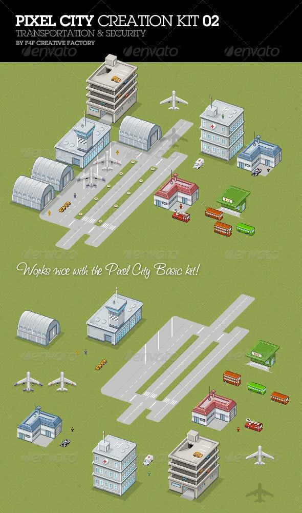 Pixel City Creation Kit 02 - Tilesets Game Assets