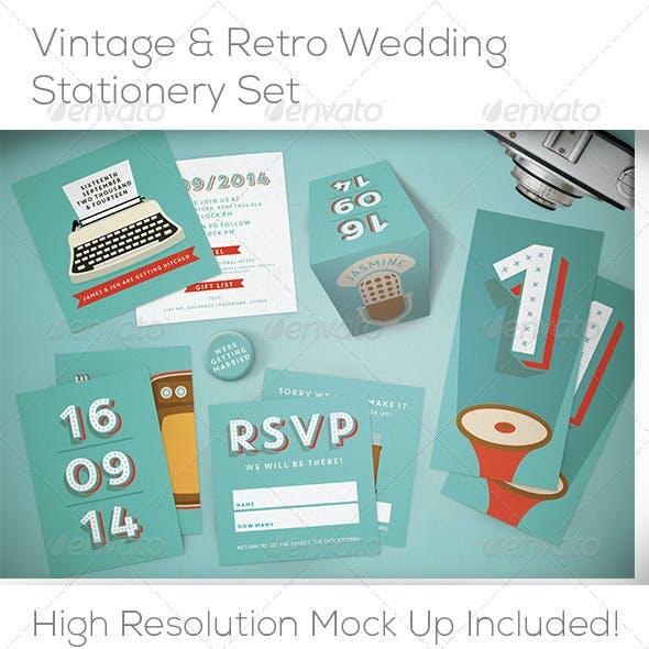 Retro & Vintage Wedding Stationery & Mock Up