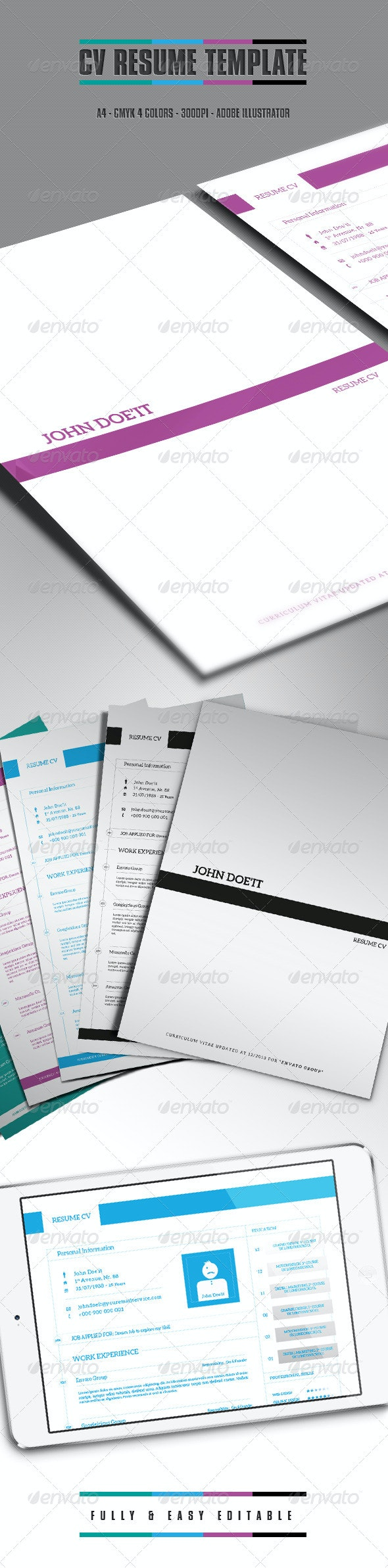 CV/One Page Resume and Cover - Resumes Stationery