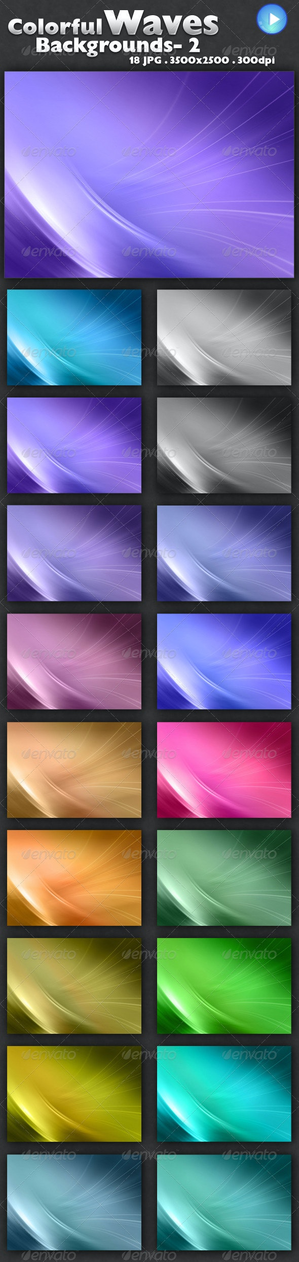 Colorful Waves Backgrounds 2 - Backgrounds Graphics