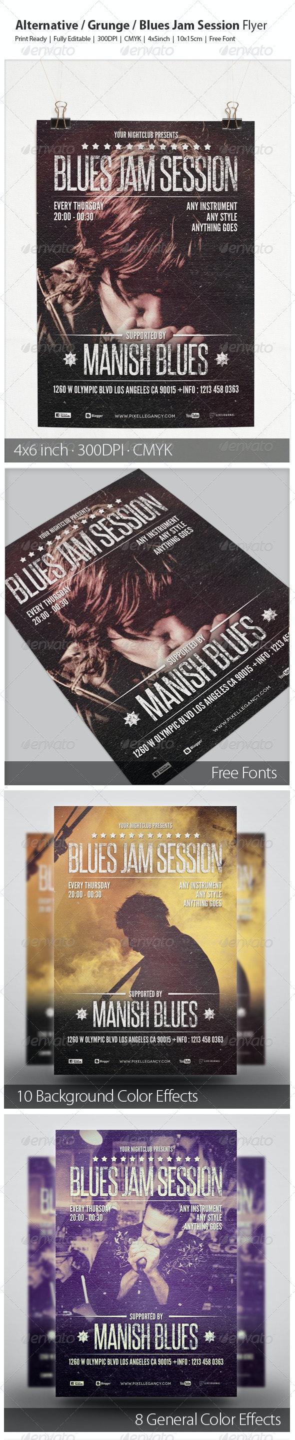 Alternative / Grunge / Blues Jam Session Flyer - Concerts Events