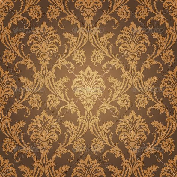 Floral Golden Seamless Wallpaper - Backgrounds Decorative