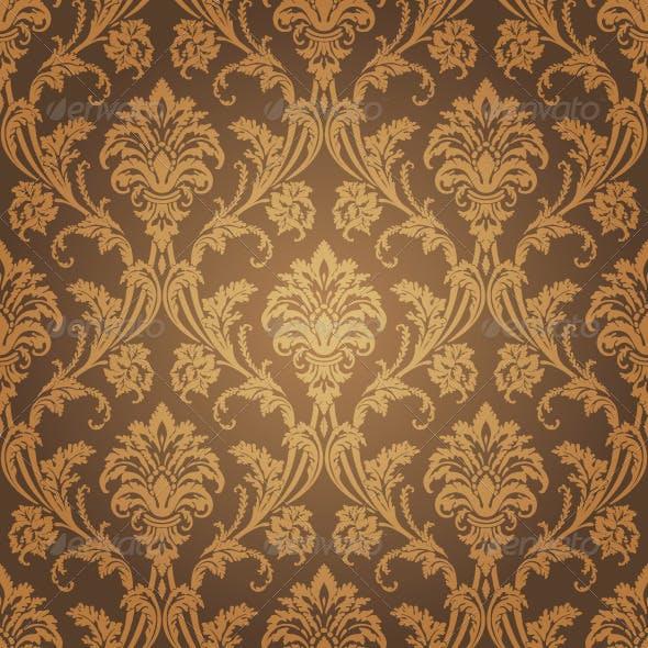 Floral Golden Seamless Wallpaper