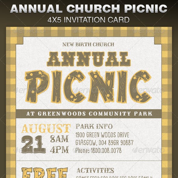 Annual Church Picnic Invite Card Template