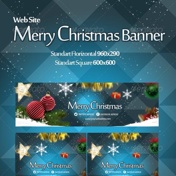 Merry Christmas Banner Web Blue