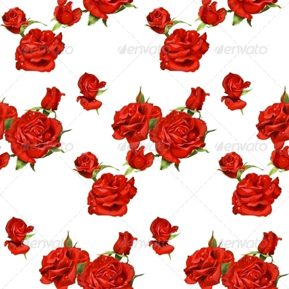 Seamless Pattern of Red Roses  - Flowers & Plants Nature