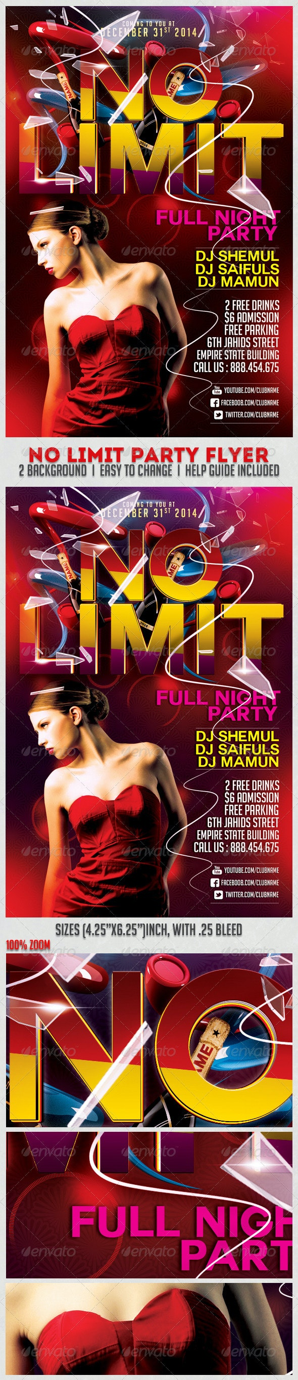 No Limit Party Flyer Template - Clubs & Parties Events