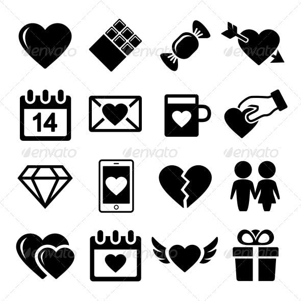 Valentine Day Love Icons Set