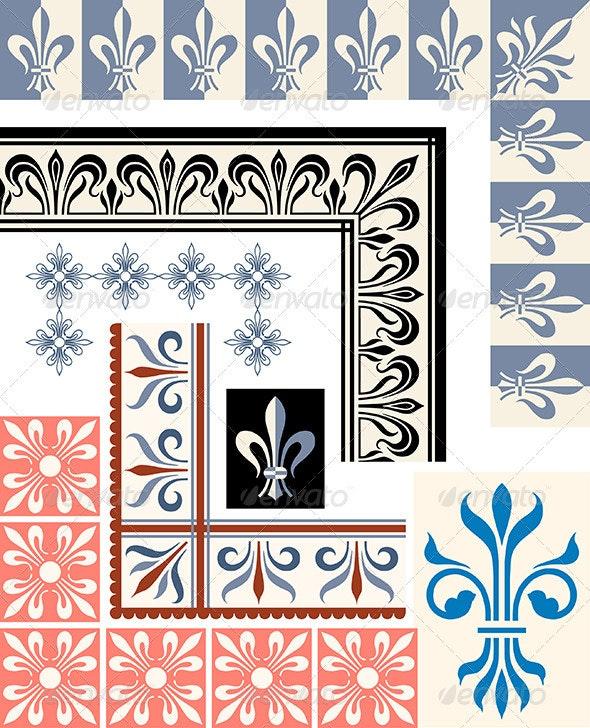 Fleur de Lys border set - Borders Decorative