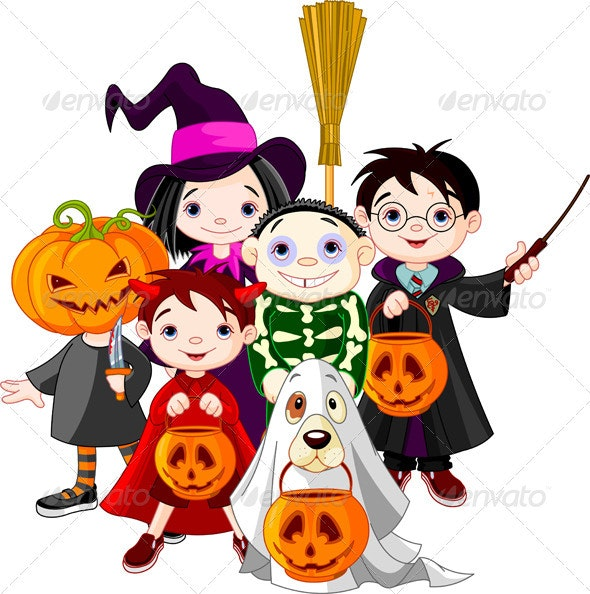 Halloween trick or treating children  - Halloween Seasons/Holidays