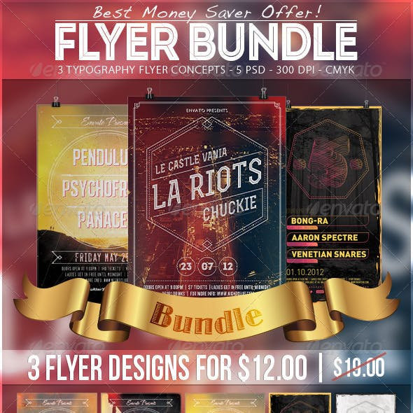Typography Party Flyer Bundle 1
