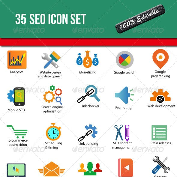 35 SEO Icon Set